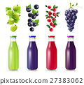 Realistic Bottles With Berry Juice Set 27383062