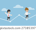 Businessman riding a unicycle on a graph 27385397