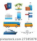 Realistic travel tourism icons set vector 27385878