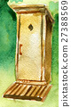 watercolor sketch of wooden toilet 27388569