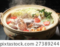 pot of chicken or seafood, and vegetables in a dashi broth, pot 27389244