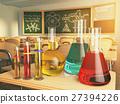 Laboratory glassware with formula on blackdesk  27394226