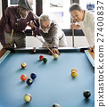 Friends Playing Billiard Relaxation Happiness Concept 27400837