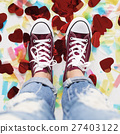 Sneakers Feet Casual Cheerful Party Shoes Concept 27403122