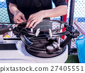 weaving, Stringing badminton racket  27405551