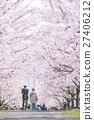 แนวต้นไม้ริมถนน,ดอกไม้บานเต็มที่,ดอกซากุระบาน 27406212