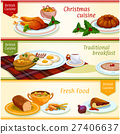 British cuisine traditional dishes banner set 27406637