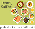French cuisine snacks and salads icon design 27406643