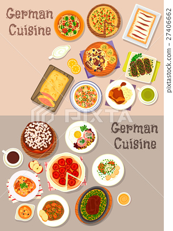 German cuisine meat dishes with dessert icon set 27406662