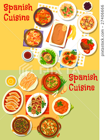 Spanish cuisine seafood and meat dishes icon set 27406666