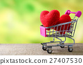 Red heart in shopping cart 27407530