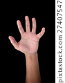 hand is showing five fingers isolated on black 27407547
