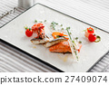 Creative serving of grilled seafood mix 27409074