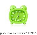 Green alarm clock isolated. 27410914
