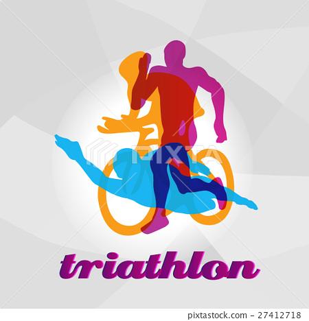 Color flat logo triathlon. Vector figures 27412718