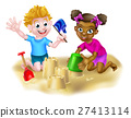 Cartoon Kids Making Sandcastles 27413114