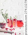 Refreshing drink with cranberries 27413279