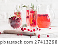 Refreshing drink with cranberries 27413298