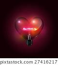 Heart glass light bulb, glow happy valentine's day 27416217