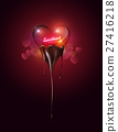 Heart glass dipping melted chocolate, sweetheart 27416218
