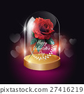 Glass dome, red rose lowpoly, Valentine's day 27416219