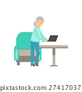 Old Lady Placing Lap Top On The Table, Coworking 27417037