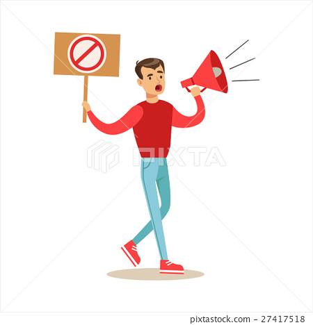 Man With Megaphone Marching In Protest With Banner 27417518