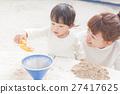 父母身份 父母和小孩 砂坑 27417625