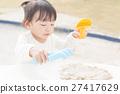 모래 장난 여자 유아 27417629