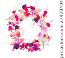 greeting wreath of colorful fuchsia flower 27420494