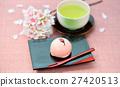 春天日本甜點,櫻桃Manju /櫻桃小圓麵包和綠茶的形象。注意)背景中的櫻花是人造花。 27420513