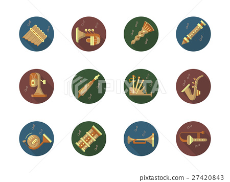 Round color vector icons set for music instruments 27420843