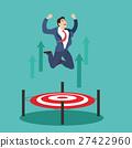 Businessman jumping up target trampoline 27422960