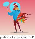 Cartoon Rooster Hipster Usinng Cell Smart Phone 27423785