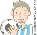 축구 공을 가진 젊은 남자 (하늘색) 27424672