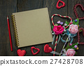 Top view valentines day background and decorations 27428708