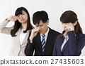 商務女性男性男性和女性商人哭泣悲傷悲傷悲觀失敗的麻煩 27435603