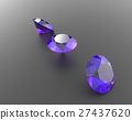 Background with purple gemstones. 3D illustration 27437620