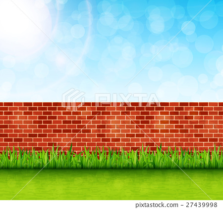 Garden background with brick wall and green grass 27439998