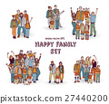 Happy family isolate white group color set. 27440200