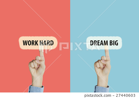 pointing with index fingers to Work Hard 27440603