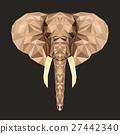 Vector portrait of elephant polygonal. Triangle 27442340