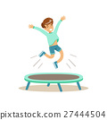 Boy Jumping On Trampoline, Kid Practicing 27444504