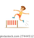 Boy Hurdle Racing, Kid Practicing Different Sports 27444512