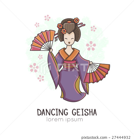 Vector illustration of Dancing Geisha with fan 27444932