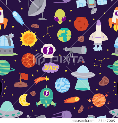 Astronomy space vector seamless pattern. 27447005