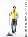 Young Asian Man in a Yellow Vest Cleaning Floor with a Mop 27448491