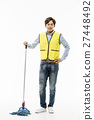 Young Asian Man in a Yellow Vest Cleaning Floor with a Mop 27448492