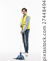 Young Asian Man in a Yellow Vest Cleaning Floor with a Mop 27448494