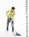 Young Asian Man in a Yellow Vest Cleaning Floor with a Mop 27448496